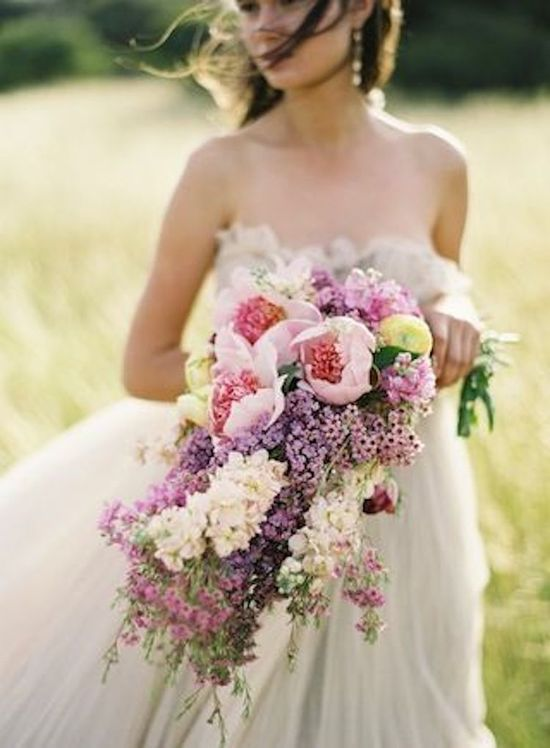 Romantic Lavendar and Pink Cascade Bouquet