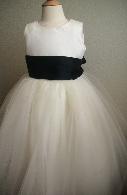 Chic white tulle flower girl dress with black sash