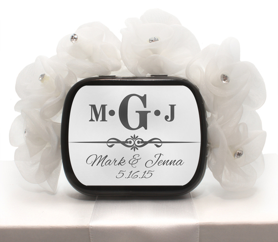 White Wedding Monogram Mint Tin