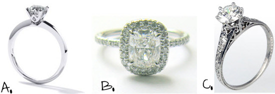 Similar platinum engagement rings to what the stars are wearing.  But these won't break the bank!