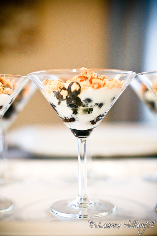 Yummy salad served up in a martini glass for this chic bridal shower