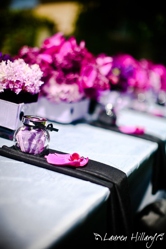 Detail shot of this glam black, pink and purple bridal shower
