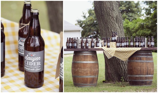 Homemade Cider Favors on a Rustic Barrel Table