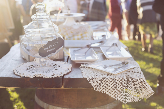 Dessert Table Adorned with Lace Doilies
