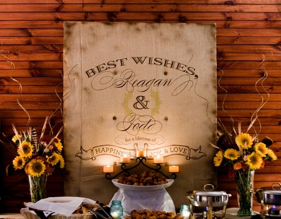 Gorgeous rustic wedding sign, custom and handpainted, makes a statement behind the wedding reception