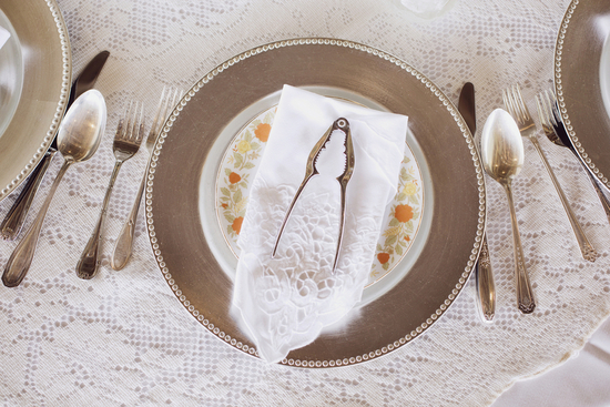 Pretty Reception Table Setting with Lace