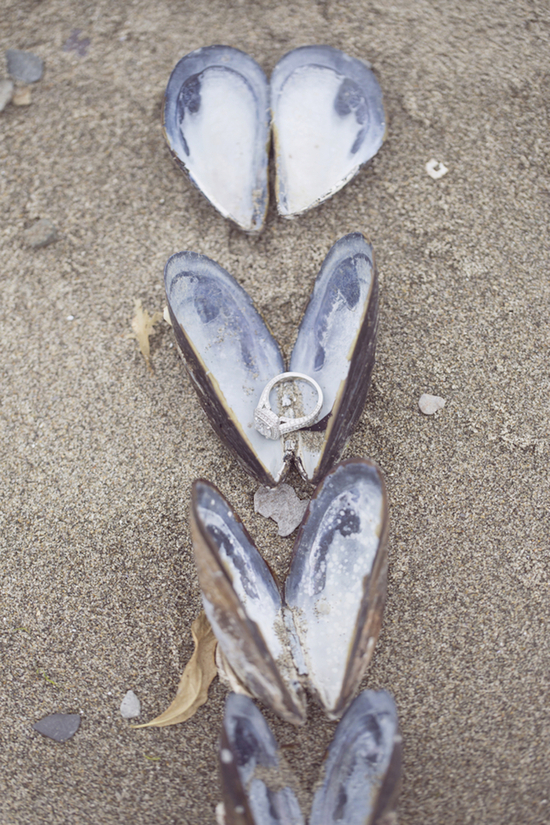 Engagement Ring Photo in Oyster Shells