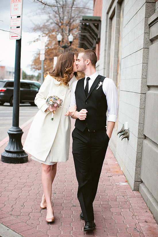 Urban Bride in a Long White Coat