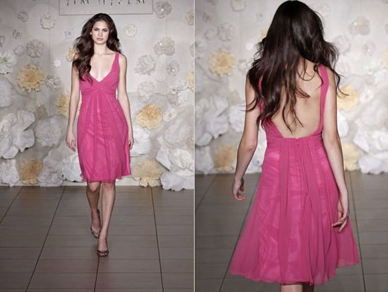 Chic rasberry chiffon bridesmaid dress from JLM Couture
