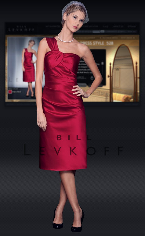 Asymmetric mid-length bridesmaids dress by Bill Levkoff