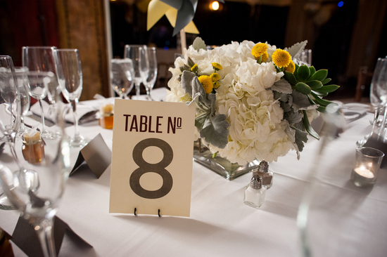 Reception Table Numbers and Floral Centerpiece