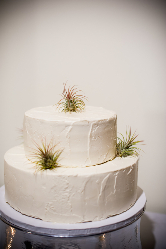 White Wedding Cake with Cacti Accents