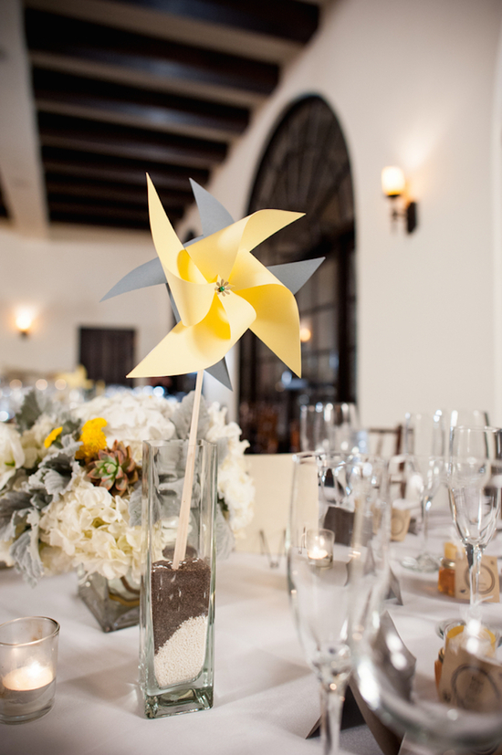 Yellow and Gray Pinwheel Centerpiece
