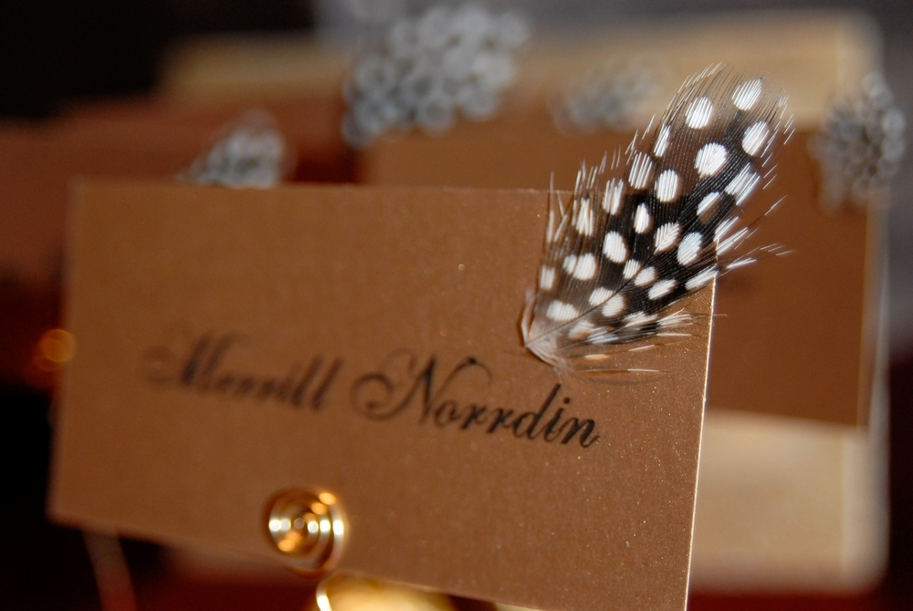 Adorabe-chic-wedding-detail-gold-escort-cards-with-black-caligraphy-arorned-with-black-white-spotted-feather.full