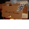 Adorabe-chic-wedding-detail-gold-escort-cards-with-black-caligraphy-arorned-with-black-white-spotted-feather.square