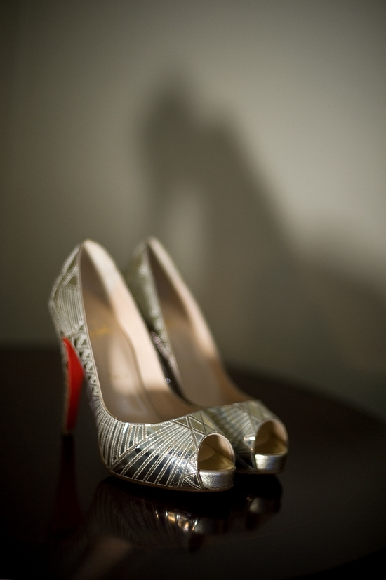 Silver peep-toe Christian Louboutin bridal heels- you can't go wrong with this wedding day kicks!