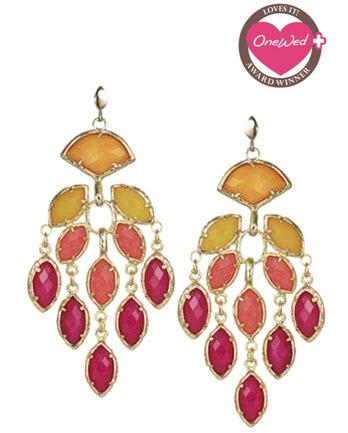 Dazzling statement bridal necklace, chandelier earrings ...