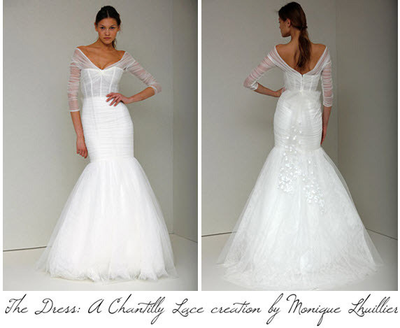 Monique lhuillier created a custom chantilly lace wedding dress for monique lhuillier created a custom chantilly lace wedding dress for carrie underwoods wedding junglespirit Choice Image