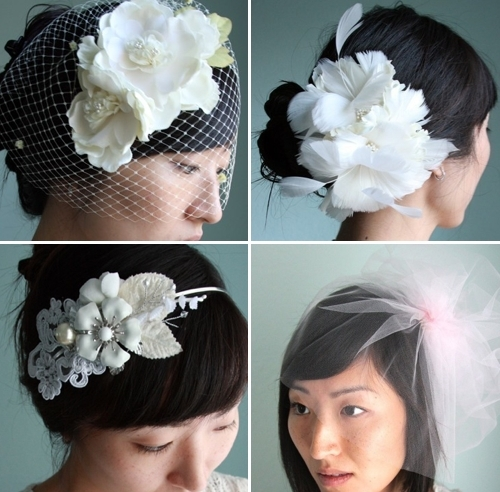 Stunning eco-friendly bridal hair accessories (including headband with vintage brooches) from Twigs