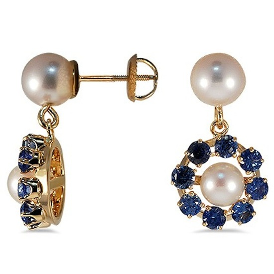 Brilliant Earth Grania Pearl and Sapphire Earrings