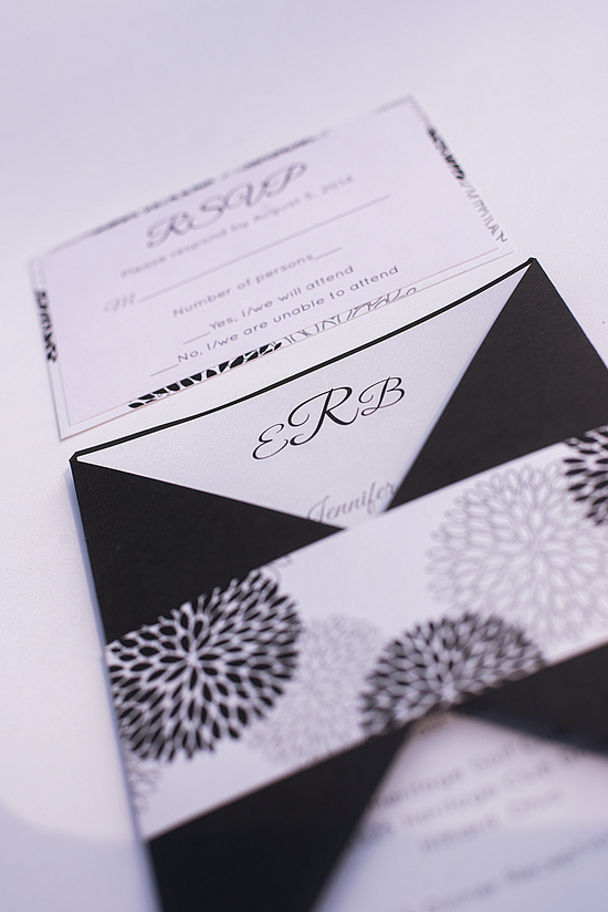 Black and White Banded Invitation