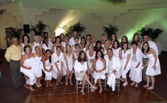 The crew in their All White wedding reception attire