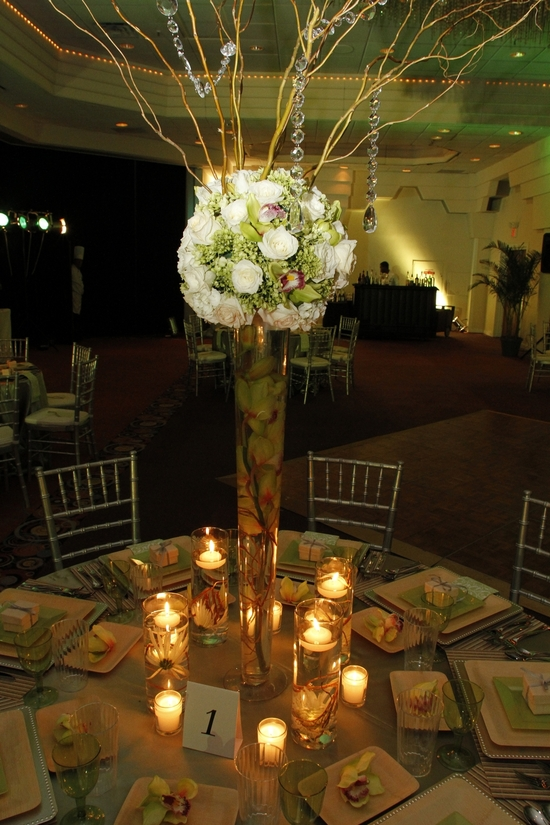 Other than the topiary floral arrangement, you can create this enchanted garden reception tablescape