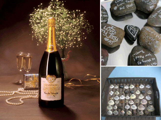 Get-creative-with-your-wedding-guest-book-magnum-champagne-bottle-river-rocks-seashells-signed-by-each-guest.full