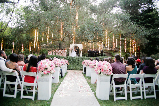 Absolutely Stunning Outdoor Ceremony with Hanging Lights