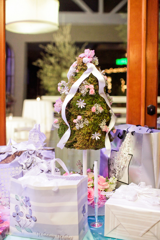 Gift Table Decor with a Mossy Centerpiece