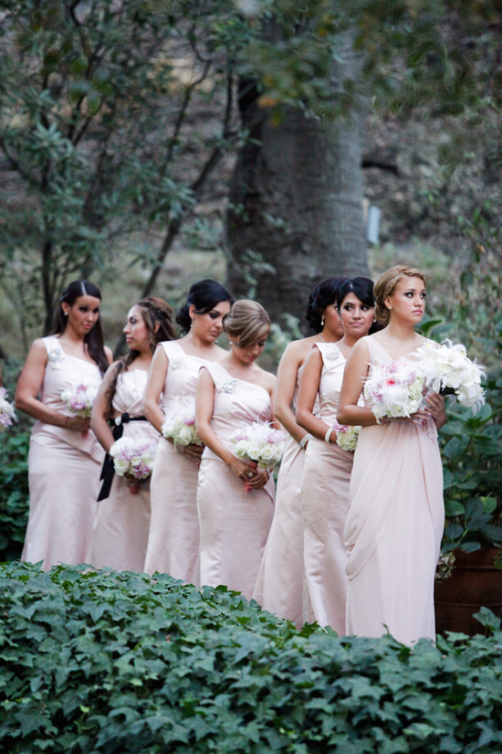Bridesmaids in Light Pink Gowns