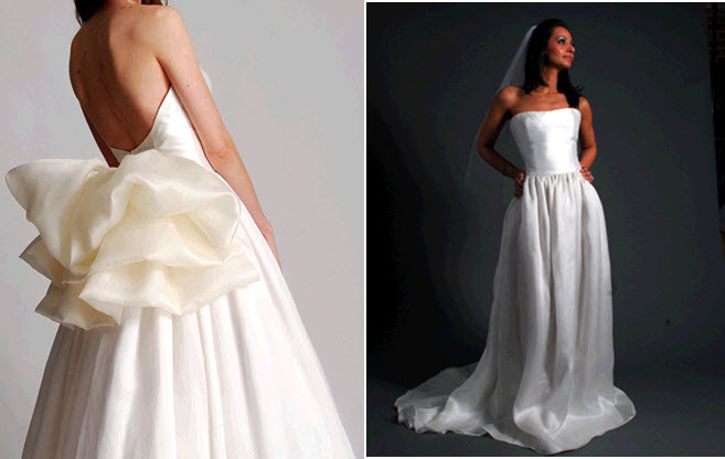 Chic and classic ivory strapless princess wedding dress with unexpected bow detail in back