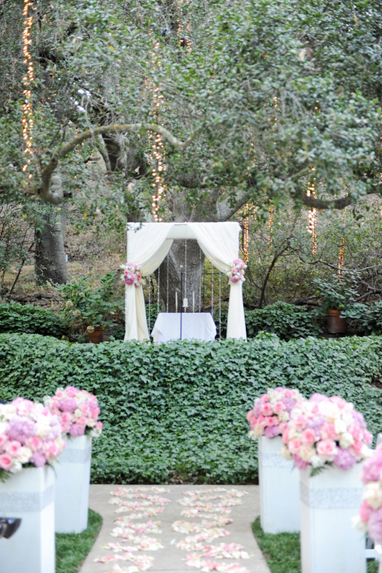 Ceremony Altar with a Draped Fabric Arbor