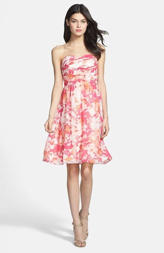 Pink Floral Print Bridesmaid Dress