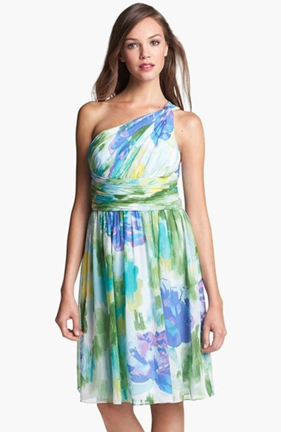 Short One Shouldered Bridesmaid Dress with a Watercolor Print