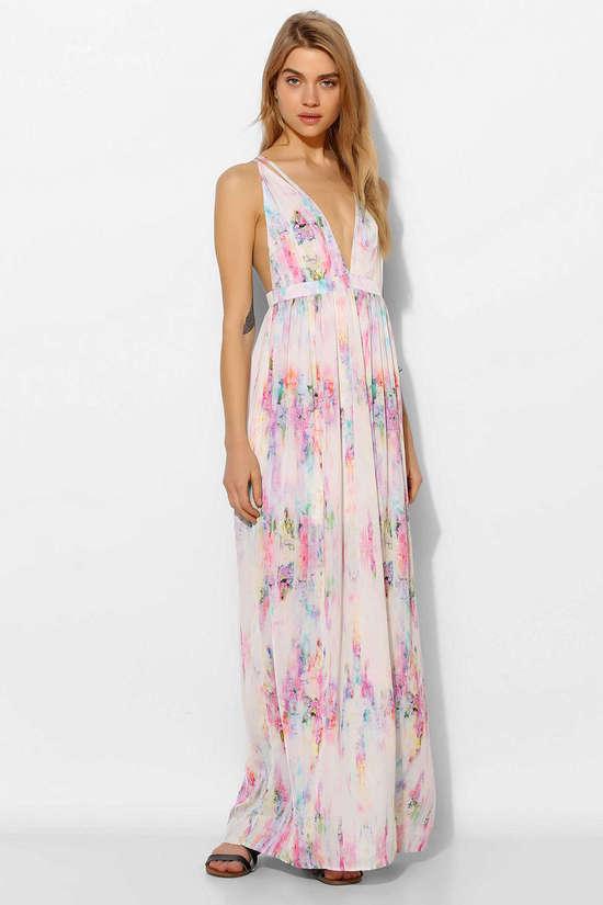 Watercolor print bridesmaid maxi dress for Shoes for maxi dress wedding