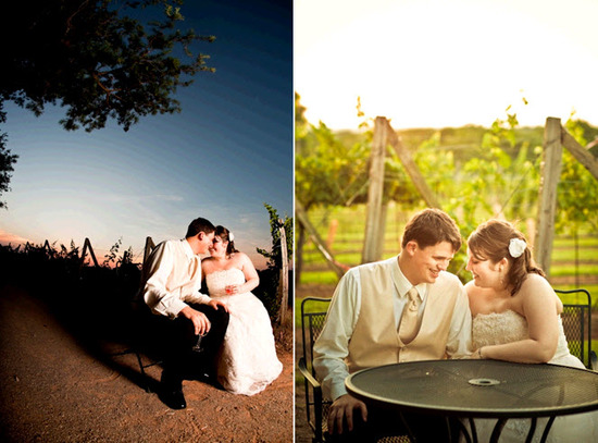 Bride and groom, in full wedding day attire, kiss outside at vineyard