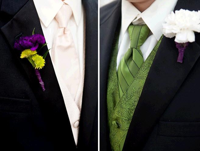 Groom-groomsmen-black-tuxedos-green-tie-colorful-purple-boutinierre.full