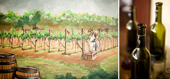 Oil painting at vineyard wedding venue, and personalized wine bottles