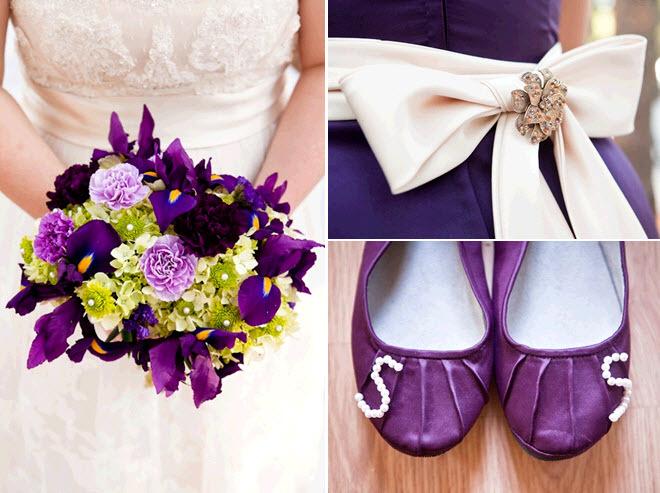 Purple-green-ivory-bridal-bouquet-lace-wedding-dress-cream-sash-bridesmaids-dress-flower-girl-ballet-flats.full