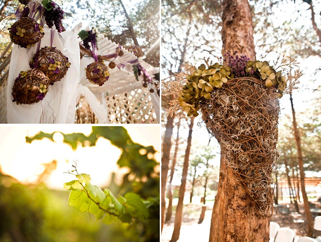 Rustic-winery-outdoor-wedding-wreaths-balls-decorated-with-green-purple-flowers.full