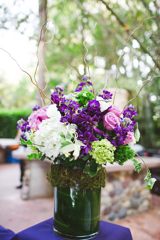 Reception Florals with Purples Pinks Whites and Greenery
