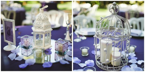 Lantern and Bird Cake Reception Centerpieces