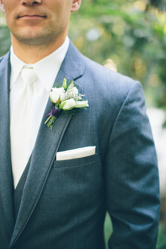 Gorgeous Gray Suit with a White Boutonniere