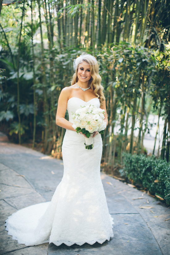Beautiful Bride with an All White Bouquet