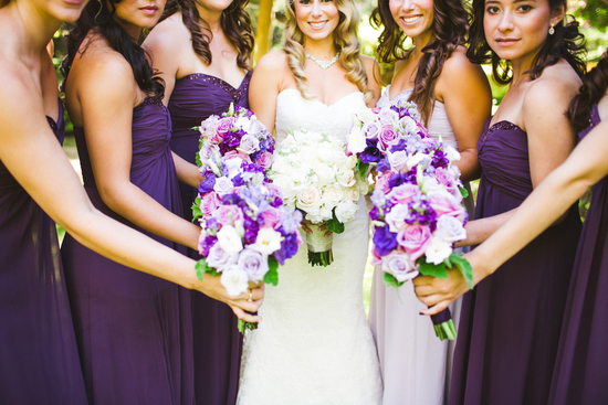Pretty in Purple Bridesmaid Dresses and Bouquets