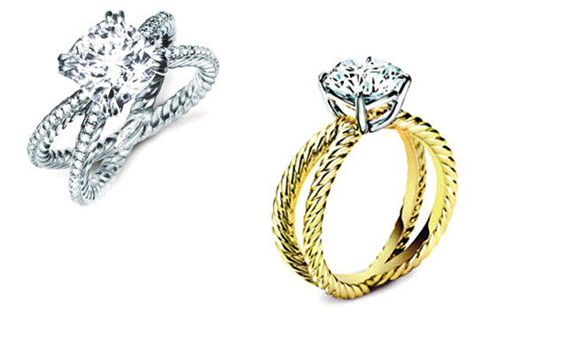 engagement rings with crossover bands yellow gold and platinum
