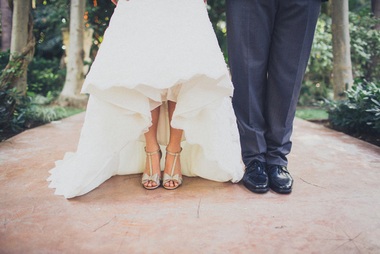 Bow Adorned Bridal Shoes and Sleek Black Groom Shoes