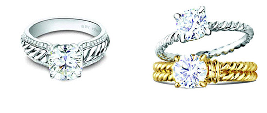 Dazzling engagement rings by David Yurman featuring iconic cable metalwork