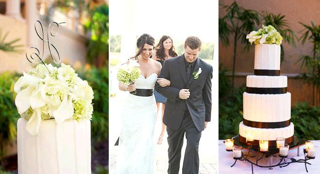 White-modern-four-tier-round-wedding-cake-monogram-cake-topper-white-sweetheart-lace-wedding-dress-black-sash.full